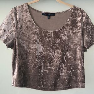 One Clothing Taupe/Violet Velvet Crop Top